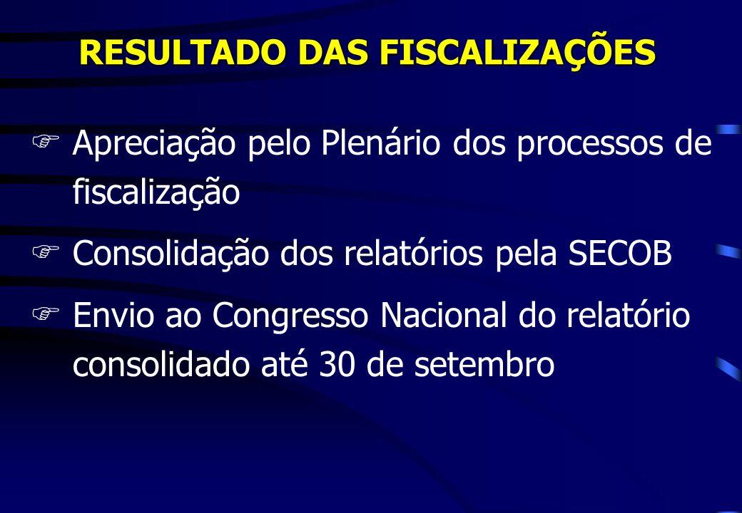 RESULTADO DAS FISCALIZAÇÕES FApreciação pelo Plenário dos processos de fiscalização FConsolidação dos relatórios pela SECOB FEnvio ao Congresso Nacion