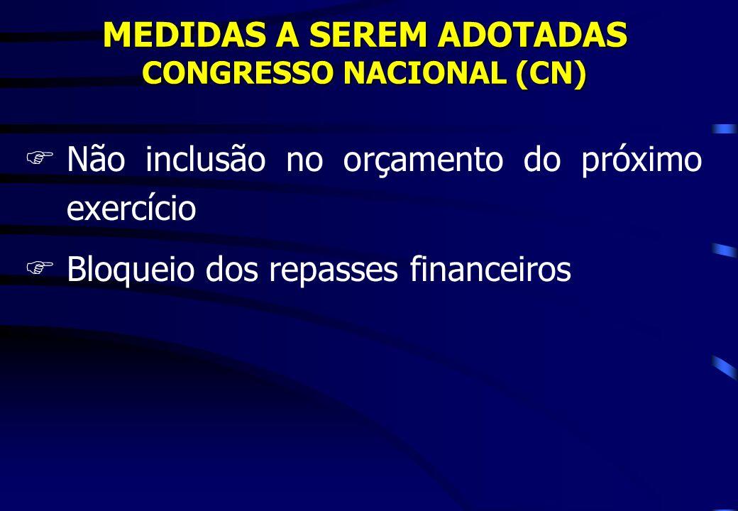 MEDIDAS A SEREM ADOTADAS CONGRESSO NACIONAL (CN) FNão inclusão no orçamento do próximo exercício FBloqueio dos repasses financeiros