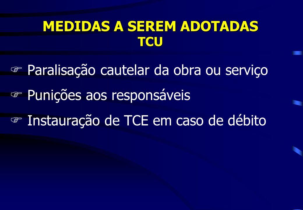 MEDIDAS A SEREM ADOTADAS TCU FParalisação cautelar da obra ou serviço FPunições aos responsáveis FInstauração de TCE em caso de débito