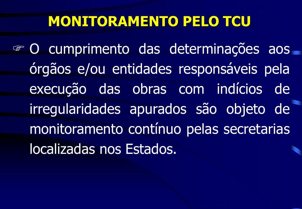 MONITORAMENTO PELO TCU FO cumprimento das determinações aos órgãos e/ou entidades responsáveis pela execução das obras com indícios de irregularidades apurados são objeto de monitoramento contínuo pelas secretarias localizadas nos Estados.