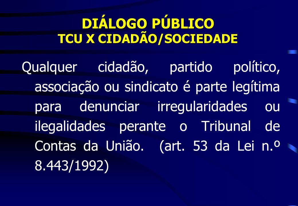 DIÁLOGO PÚBLICO TCU X CIDADÃO/SOCIEDADE Qualquer cidadão, partido político, associação ou sindicato é parte legítima para denunciar irregularidades ou ilegalidades perante o Tribunal de Contas da União.