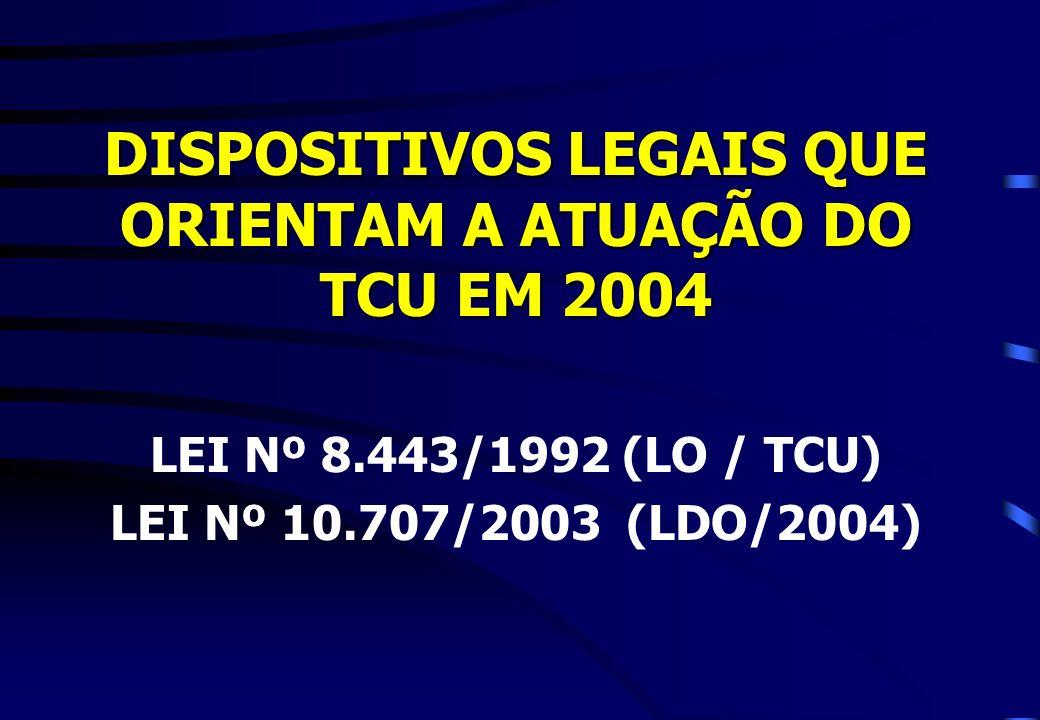 DISPOSITIVOS LEGAIS QUE ORIENTAM A ATUAÇÃO DO TCU EM 2004 LEI Nº 8.443/1992 (LO / TCU) LEI Nº 10.707/2003 (LDO/2004)