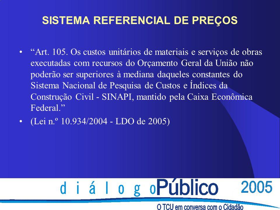 SISTEMA REFERENCIAL DE PREÇOS Art. 105.