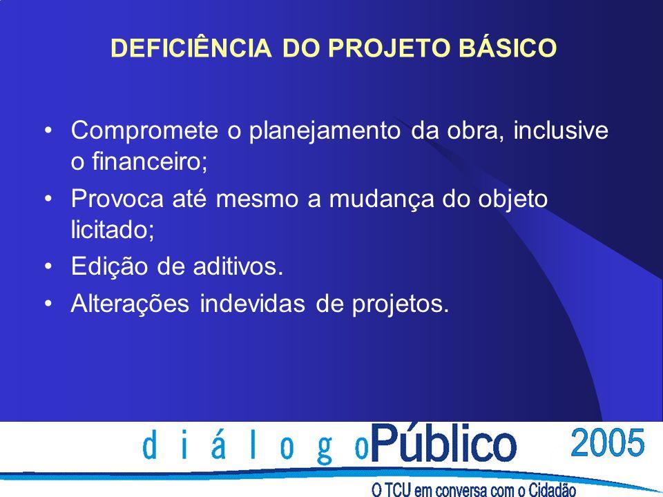 DEFICIÊNCIA DO PROJETO BÁSICO Compromete o planejamento da obra, inclusive o financeiro; Provoca até mesmo a mudança do objeto licitado; Edição de aditivos.