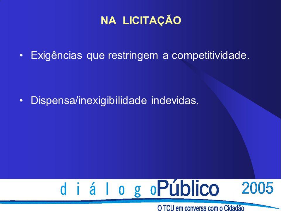 NA LICITAÇÃO Exigências que restringem a competitividade. Dispensa/inexigibilidade indevidas.