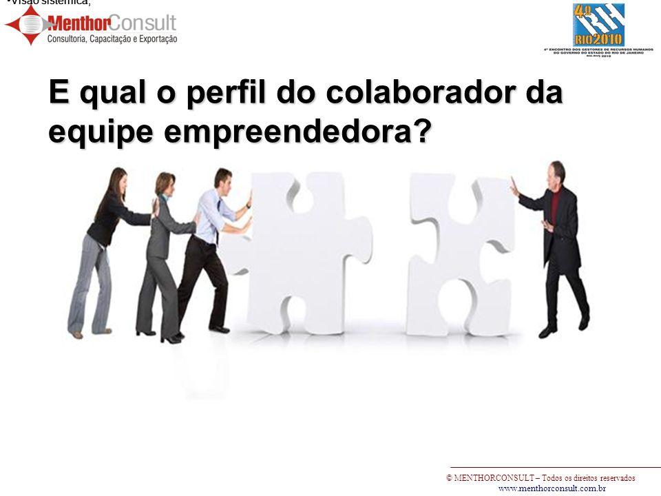 © MENTHORCONSULT – Todos os direitos reservados www.menthorconsult.com.br Visão sistêmica; E qual o perfil do colaborador da equipe empreendedora?