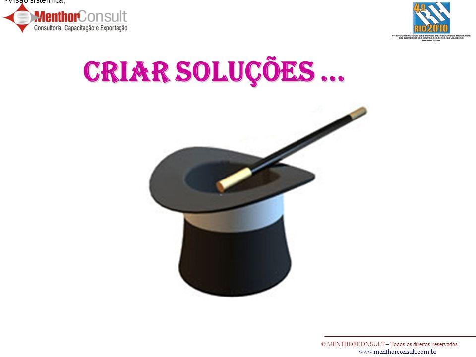 © MENTHORCONSULT – Todos os direitos reservados www.menthorconsult.com.br Visão sistêmica; Criar soluções...