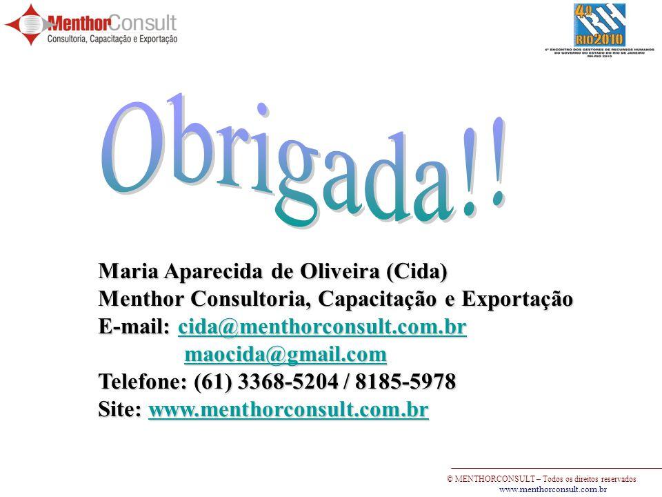 © MENTHORCONSULT – Todos os direitos reservados www.menthorconsult.com.br Maria Aparecida de Oliveira (Cida) Menthor Consultoria, Capacitação e Export