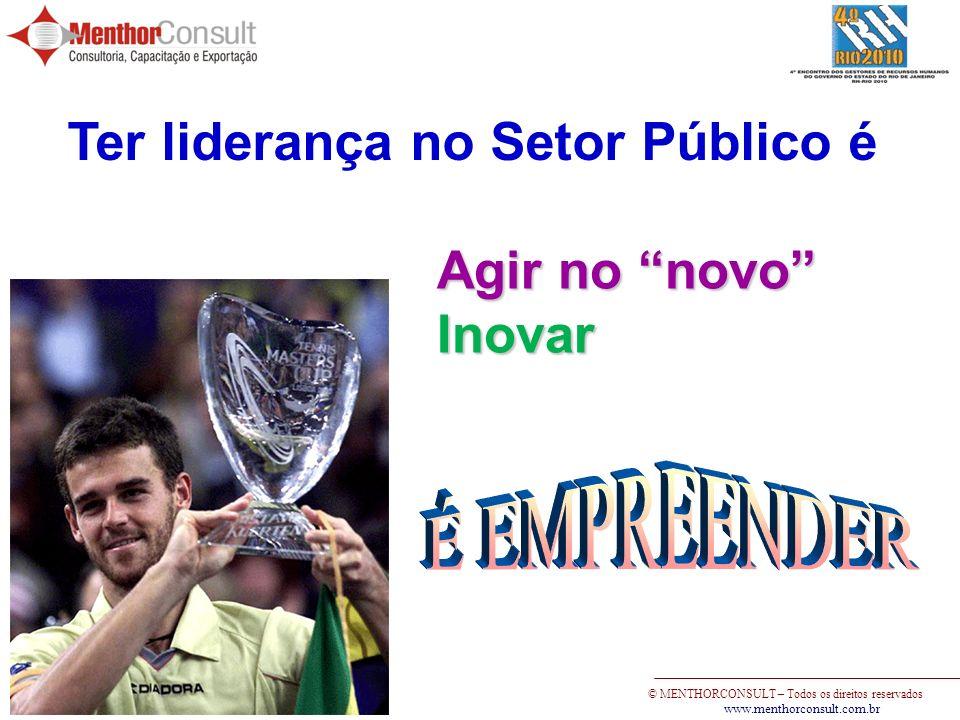 © MENTHORCONSULT – Todos os direitos reservados www.menthorconsult.com.br Ter liderança no Setor Público é Agir no novo Inovar