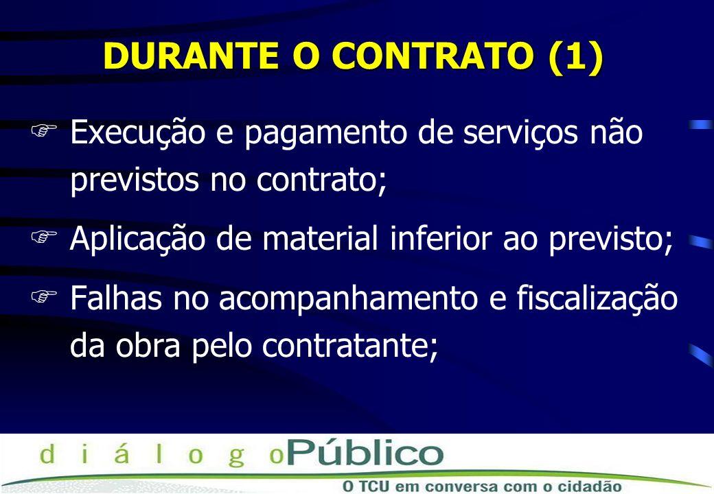 DURANTE O CONTRATO (1) FExecução e pagamento de serviços não previstos no contrato; FAplicação de material inferior ao previsto; FFalhas no acompanham