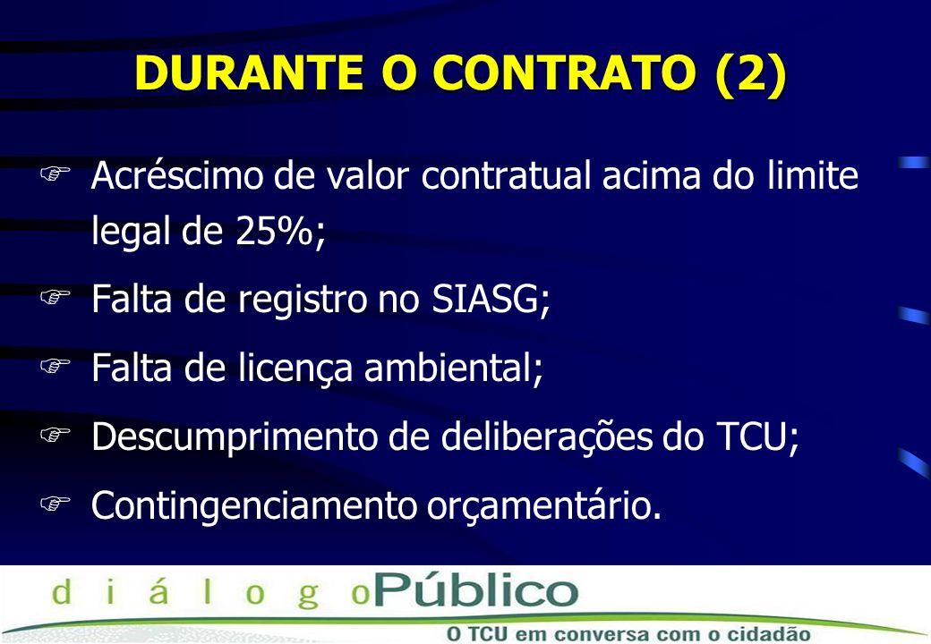 DURANTE O CONTRATO (2) FAcréscimo de valor contratual acima do limite legal de 25%; FFalta de registro no SIASG; FFalta de licença ambiental; FDescump
