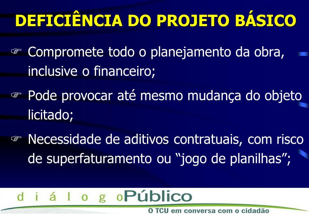 DEFICIÊNCIA DO PROJETO BÁSICO FCompromete todo o planejamento da obra, inclusive o financeiro; FPode provocar até mesmo mudança do objeto licitado; FN