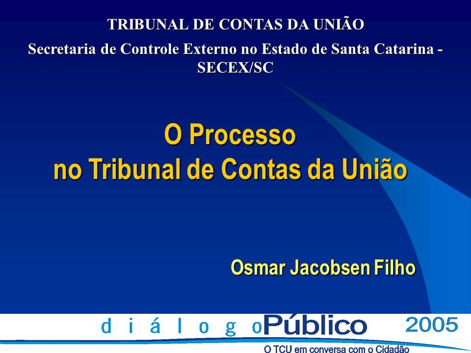 O Processo no Tribunal de Contas da União Osmar Jacobsen Filho TRIBUNAL DE CONTAS DA UNIÃO Secretaria de Controle Externo no Estado de Santa Catarina