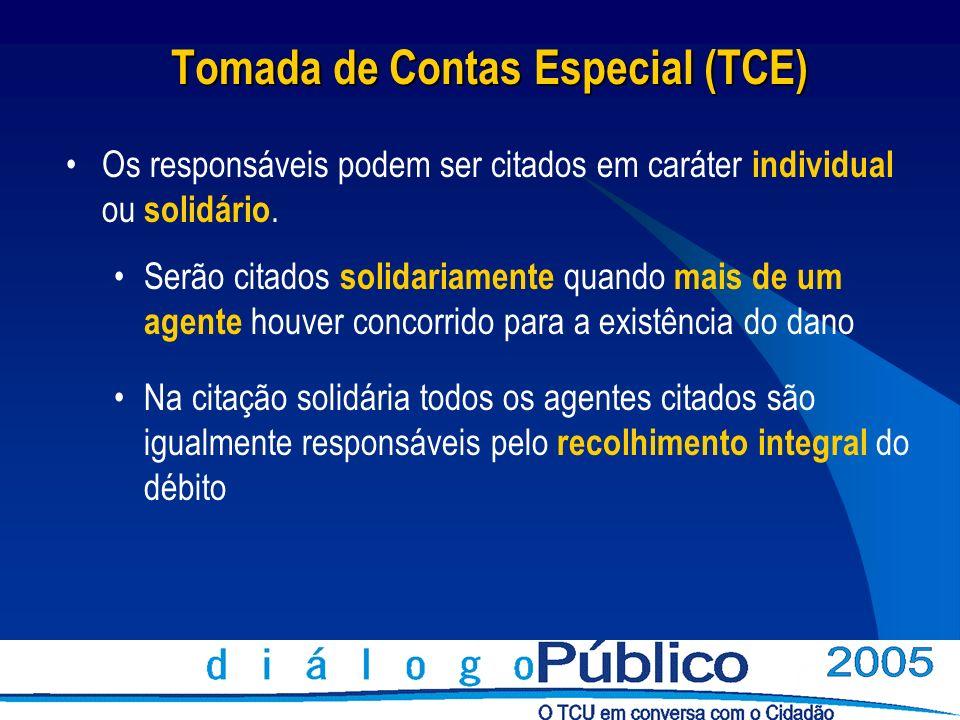 Tomada de Contas Especial (TCE) Os responsáveis podem ser citados em caráter individual ou solidário. Serão citados solidariamente quando mais de um a