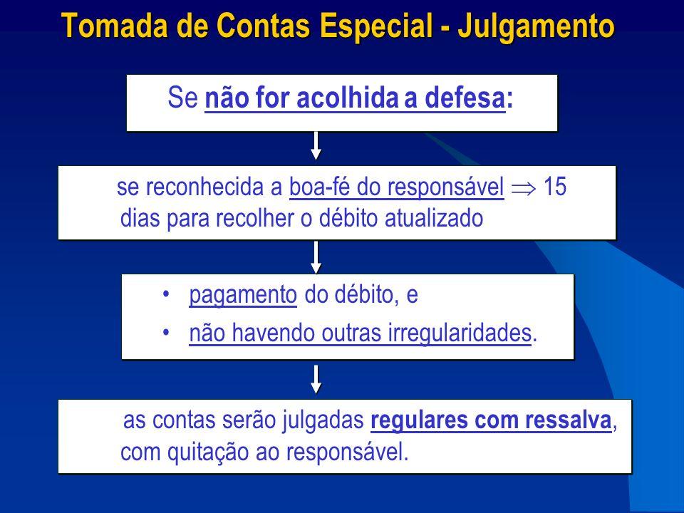 Tomada de Contas Especial - Julgamento as contas serão julgadas regulares com ressalva, com quitação ao responsável. Se não for acolhida a defesa: pag