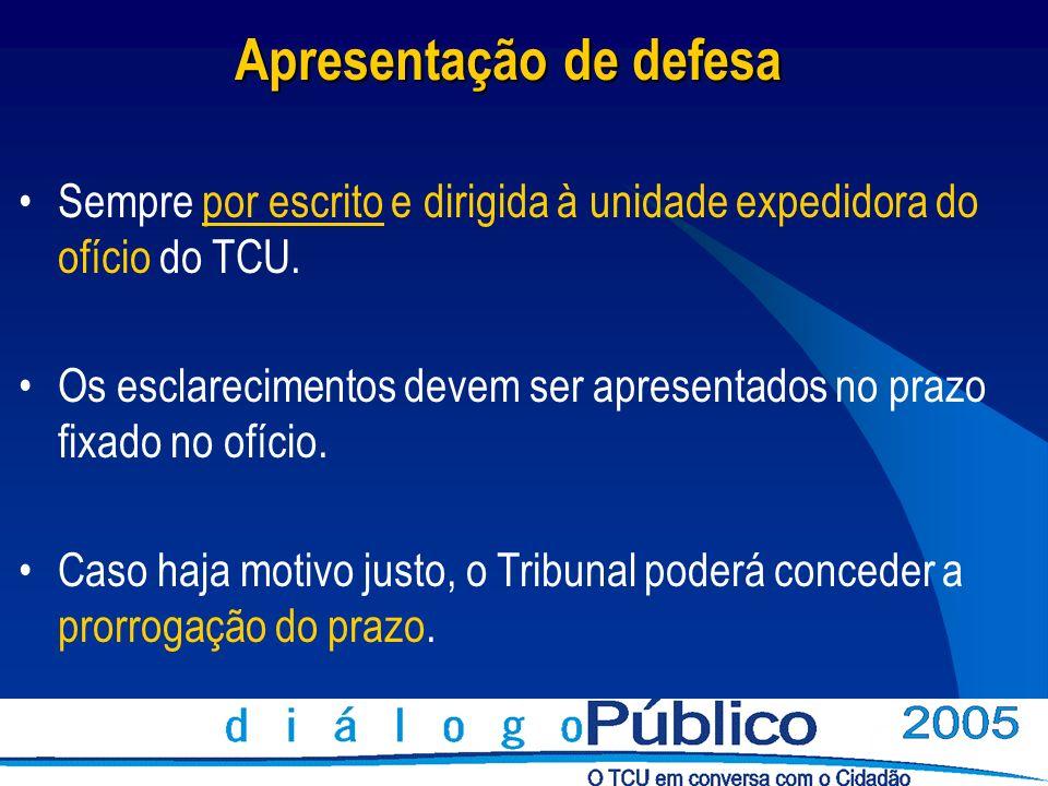 Apresentação de defesa Sempre por escrito e dirigida à unidade expedidora do ofício do TCU. Os esclarecimentos devem ser apresentados no prazo fixado