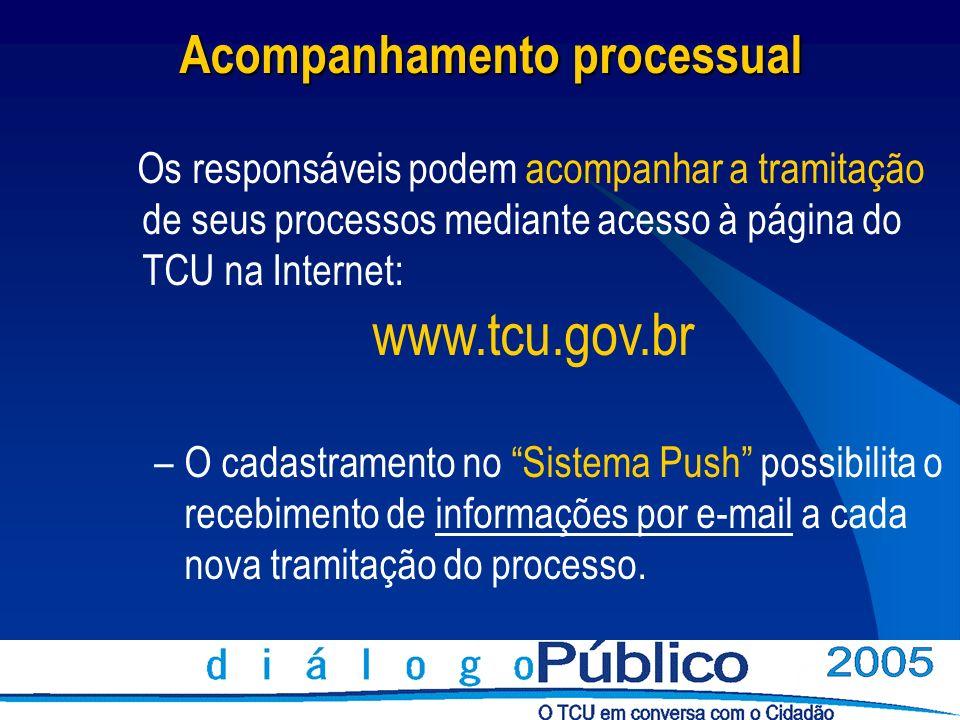 Acompanhamento processual Os responsáveis podem acompanhar a tramitação de seus processos mediante acesso à página do TCU na Internet: www.tcu.gov.br