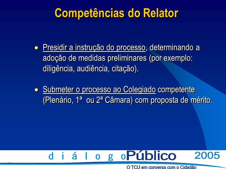 Relatoria A relatoria dos processos envolvendo os Municípios do país é sorteada a cada 2 (dois) anos.