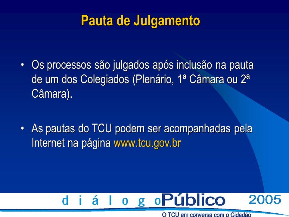 Pauta de Julgamento Os processos são julgados após inclusão na pauta de um dos Colegiados (Plenário, 1ª Câmara ou 2ª Câmara). As pautas do TCU podem s