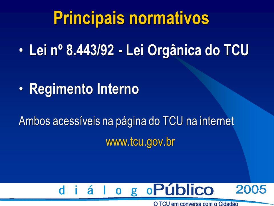 Lei nº 8.443/92 - Lei Orgânica do TCU Regimento Interno Ambos acessíveis na página do TCU na internet www.tcu.gov.br Lei nº 8.443/92 - Lei Orgânica do
