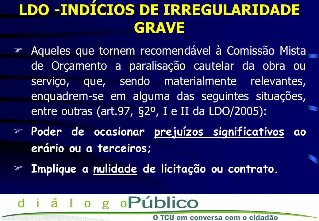 LDO -INDÍCIOS DE IRREGULARIDADE GRAVE FAqueles que tornem recomendável à Comissão Mista de Orçamento a paralisação cautelar da obra ou serviço, que, sendo materialmente relevantes, enquadrem-se em alguma das seguintes situações, entre outras (art.97, §2º, I e II da LDO/2005): FPoder de ocasionar prejuízos significativos ao erário ou a terceiros; FImplique a nulidade de licitação ou contrato.