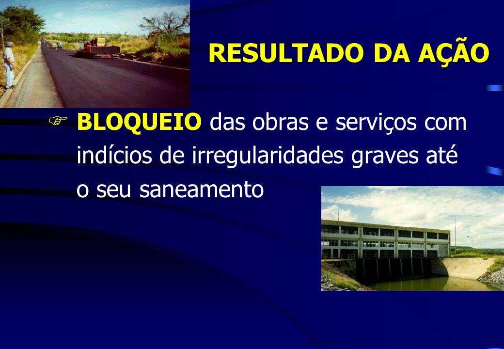 RESULTADO DA AÇÃO BLOQUEIO das obras e serviços com indícios de irregularidades graves até o seu saneamento