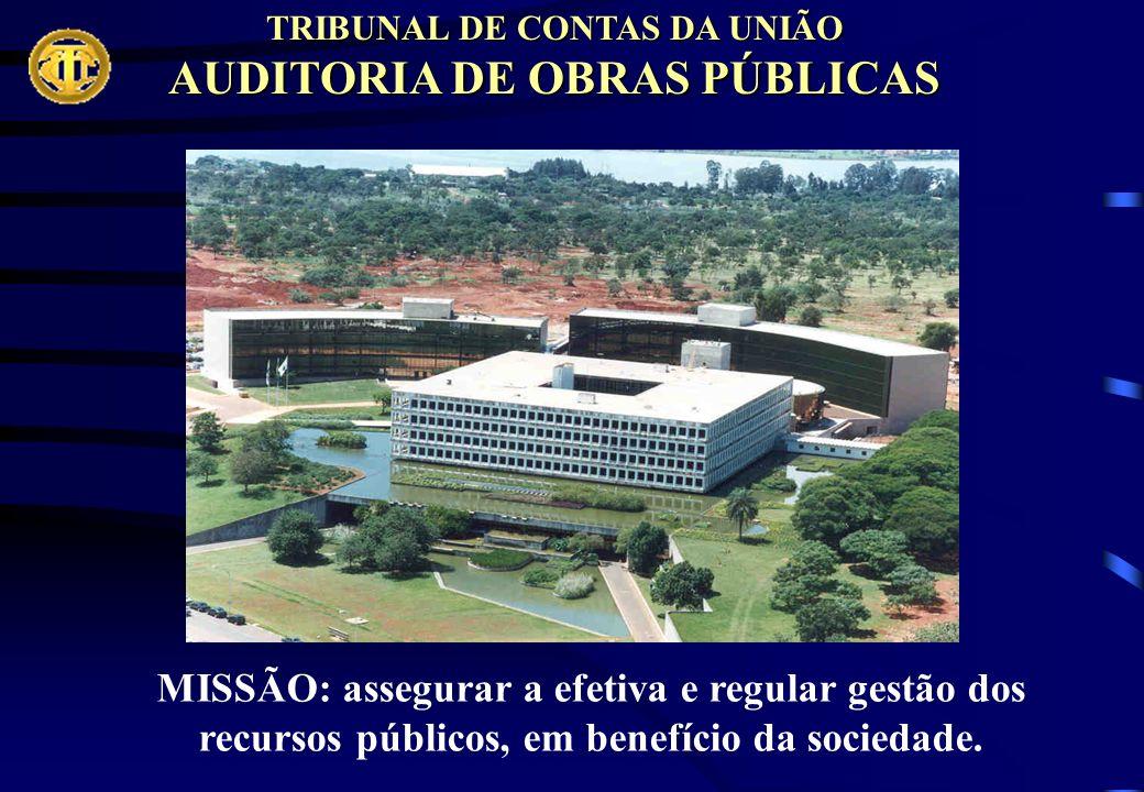 TRIBUNAL DE CONTAS DA UNIÃO AUDITORIA DE OBRAS PÚBLICAS MISSÃO: assegurar a efetiva e regular gestão dos recursos públicos, em benefício da sociedade.