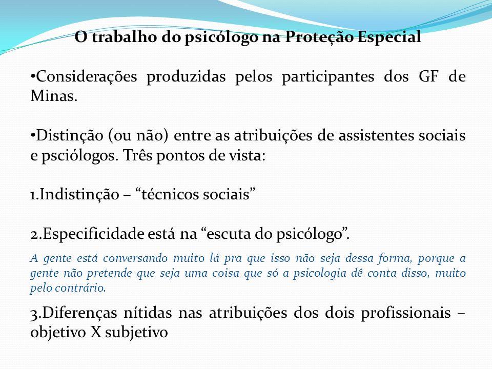 O trabalho do psicólogo na Proteção Especial Considerações produzidas pelos participantes dos GF de Minas. Distinção (ou não) entre as atribuições de