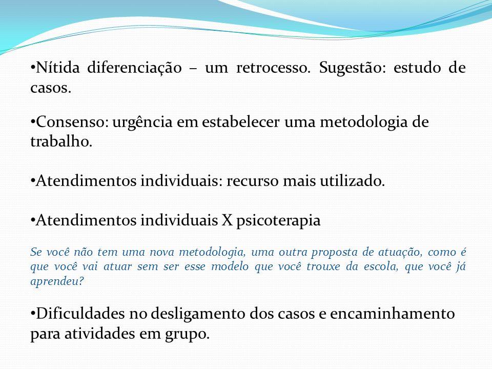 Nítida diferenciação – um retrocesso. Sugestão: estudo de casos. Consenso: urgência em estabelecer uma metodologia de trabalho. Atendimentos individua