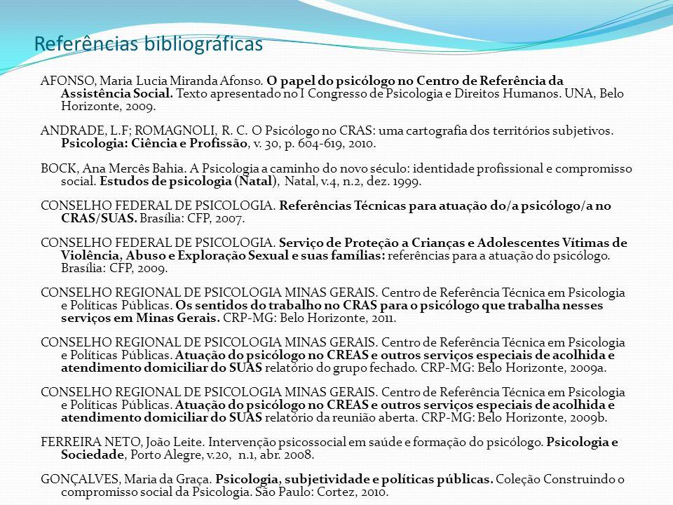 Referências bibliográficas AFONSO, Maria Lucia Miranda Afonso. O papel do psicólogo no Centro de Referência da Assistência Social. Texto apresentado n