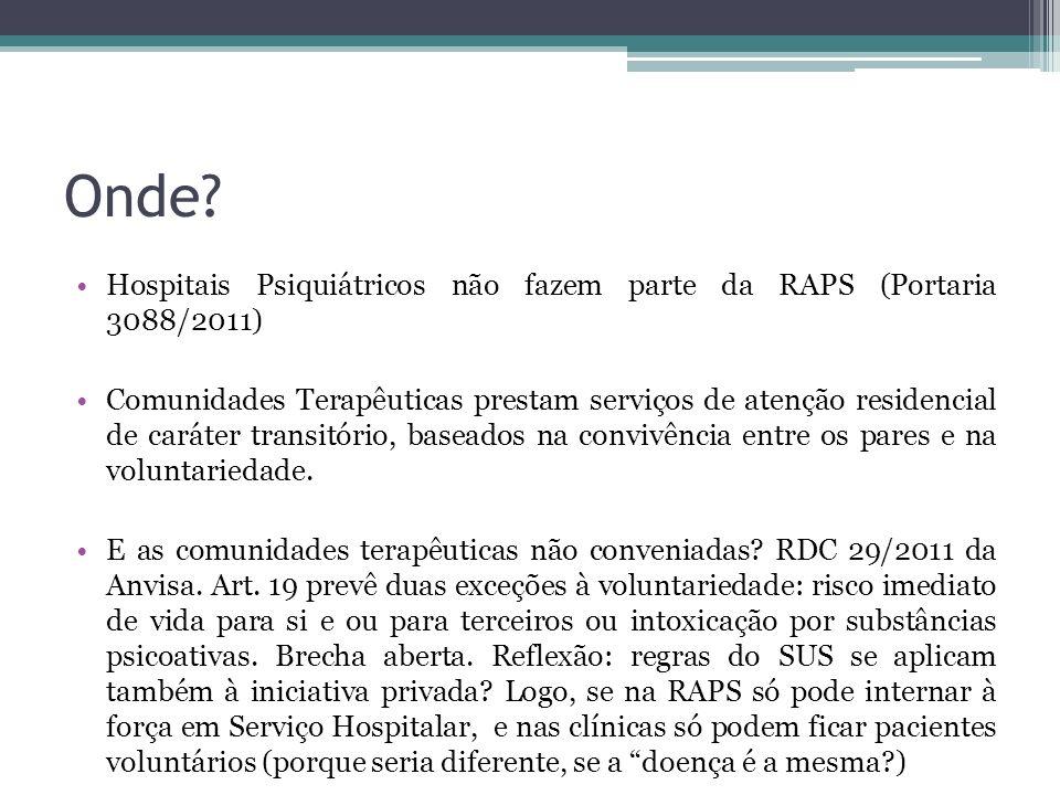 Onde? Hospitais Psiquiátricos não fazem parte da RAPS (Portaria 3088/2011) Comunidades Terapêuticas prestam serviços de atenção residencial de caráter