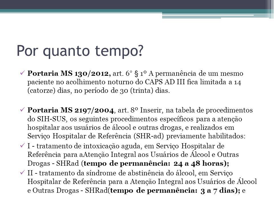 Por quanto tempo? Portaria MS 130/2012, art. 6° § 1º A permanência de um mesmo paciente no acolhimento noturno do CAPS AD III fica limitada a 14 (cato