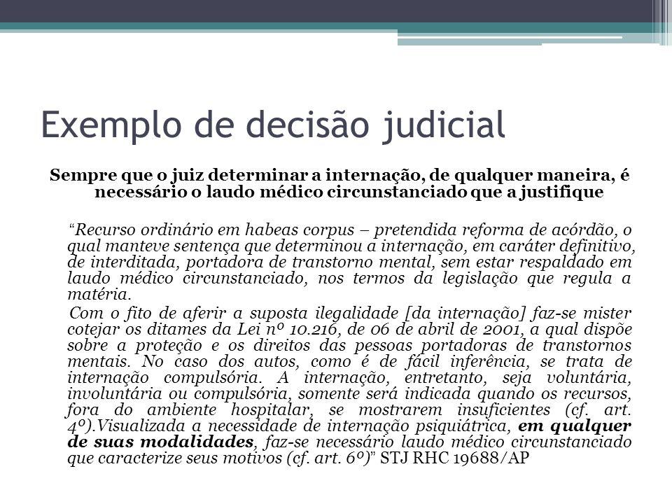 Exemplo de decisão judicial Sempre que o juiz determinar a internação, de qualquer maneira, é necessário o laudo médico circunstanciado que a justifiq