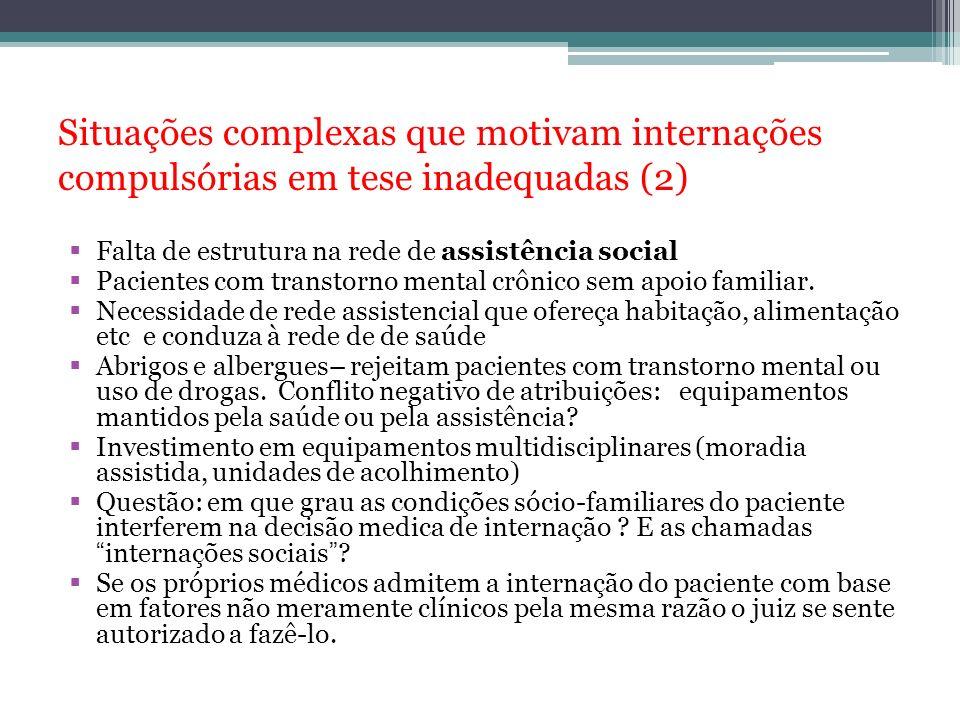 Situações complexas que motivam internações compulsórias em tese inadequadas (2) Falta de estrutura na rede de assistência social Pacientes com transt