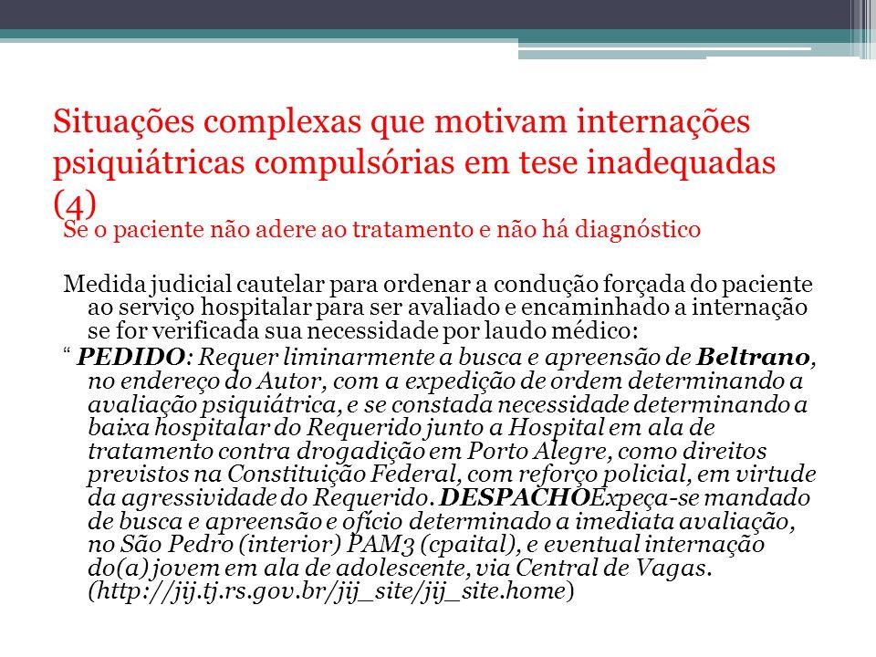 Situações complexas que motivam internações psiquiátricas compulsórias em tese inadequadas (4) Se o paciente não adere ao tratamento e não há diagnóst