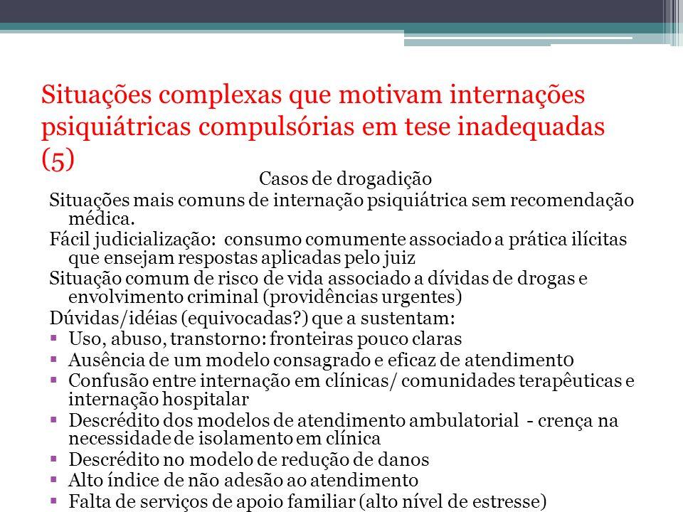 Situações complexas que motivam internações psiquiátricas compulsórias em tese inadequadas (5) Casos de drogadição Situações mais comuns de internação