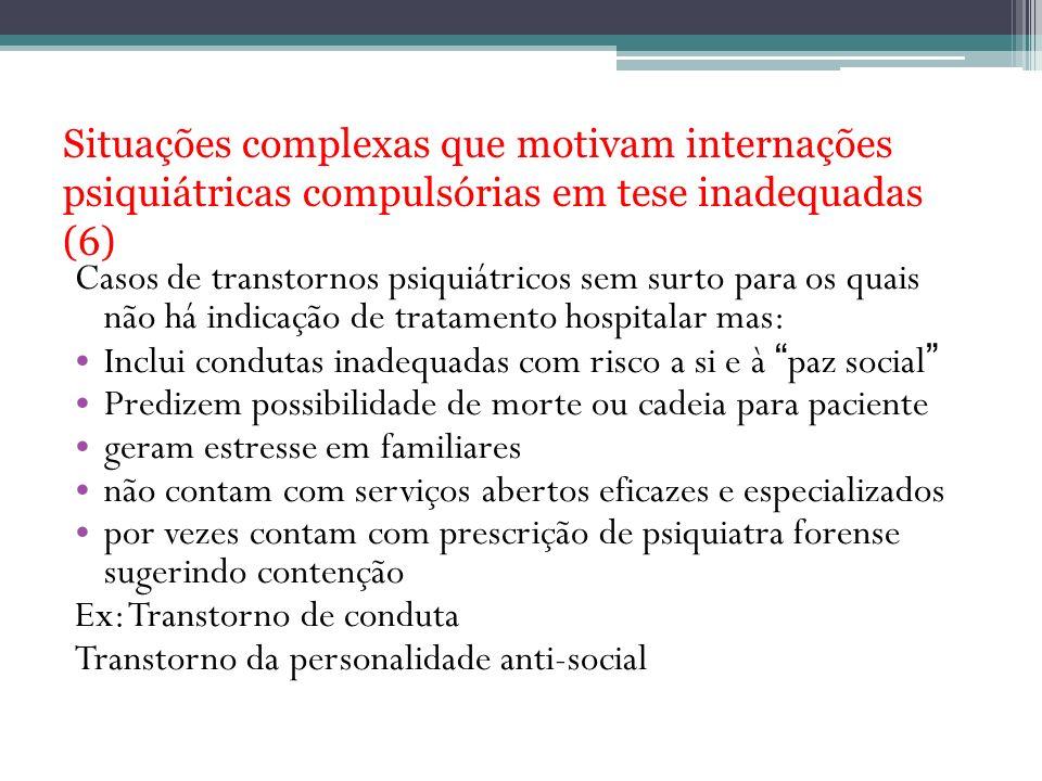 Situações complexas que motivam internações psiquiátricas compulsórias em tese inadequadas (6) Casos de transtornos psiquiátricos sem surto para os qu