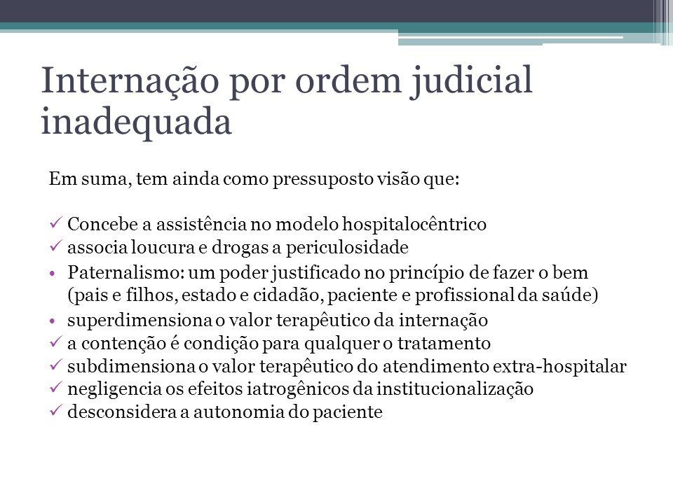 Internação por ordem judicial inadequada Em suma, tem ainda como pressuposto visão que: Concebe a assistência no modelo hospitalocêntrico associa louc