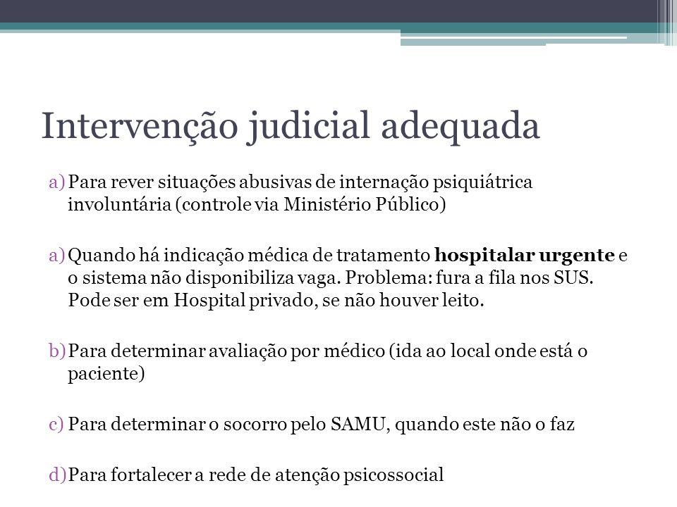 Intervenção judicial adequada a)Para rever situações abusivas de internação psiquiátrica involuntária (controle via Ministério Público) a)Quando há in