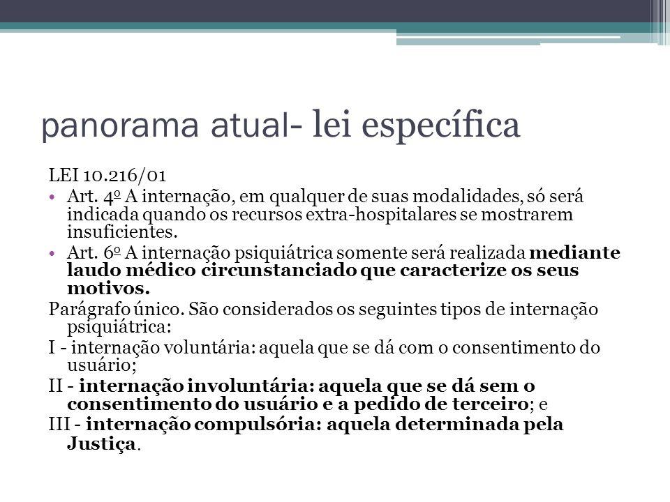 panorama atual - lei específica LEI 10.216/01 Art. 4 o A internação, em qualquer de suas modalidades, só será indicada quando os recursos extra-hospit