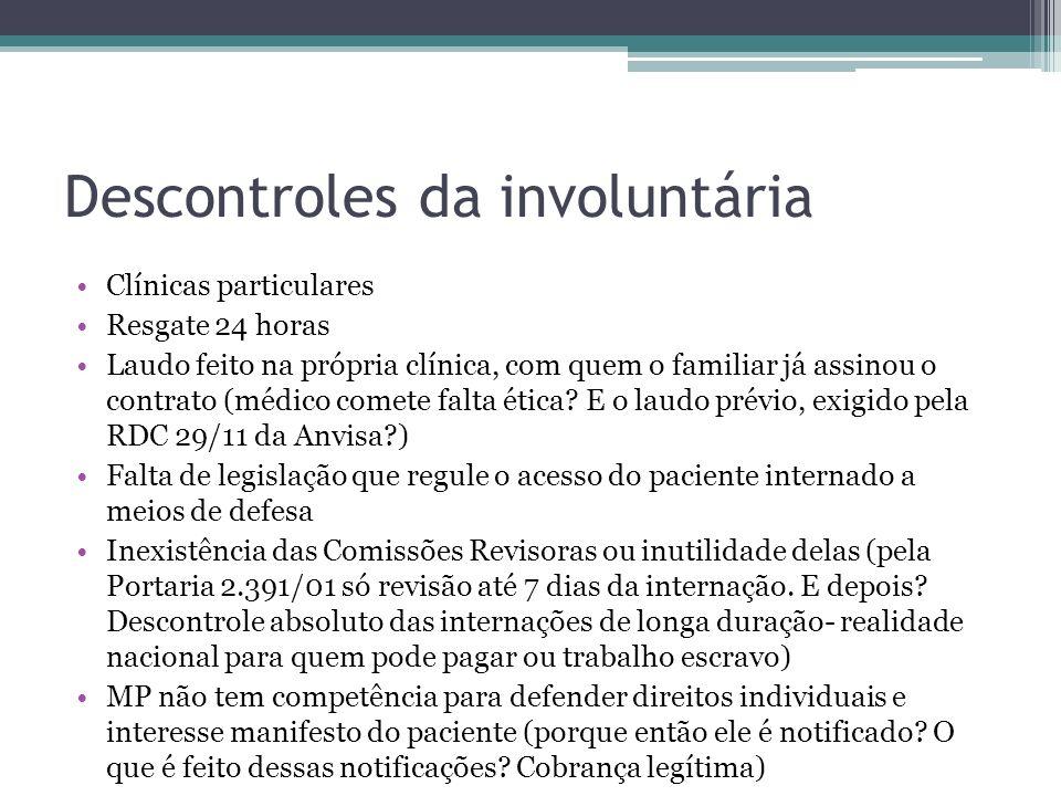 Descontroles da involuntária Clínicas particulares Resgate 24 horas Laudo feito na própria clínica, com quem o familiar já assinou o contrato (médico