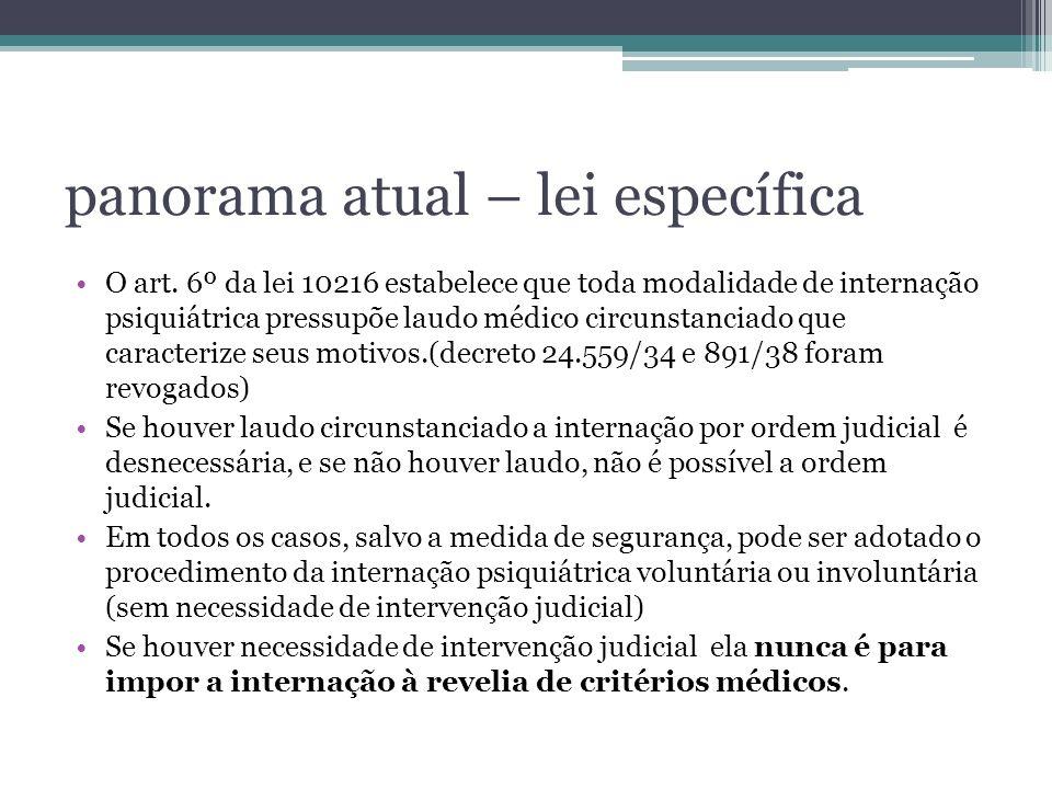 panorama atual – lei específica O art. 6º da lei 10216 estabelece que toda modalidade de internação psiquiátrica pressupõe laudo médico circunstanciad