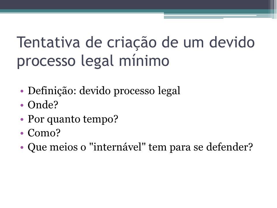 Tentativa de criação de um devido processo legal mínimo Definição: devido processo legal Onde? Por quanto tempo? Como? Que meios o