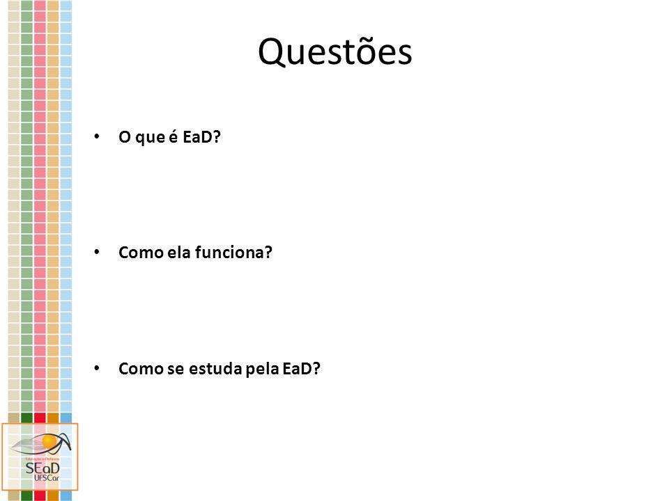 Questões O que é EaD? Como ela funciona? Como se estuda pela EaD?