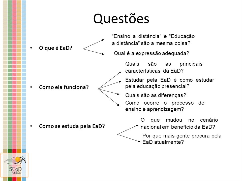 Questões O que é EaD? Como ela funciona? Como se estuda pela EaD? Ensino a distância e Educação a distância são a mesma coisa? Qual é a expressão adeq
