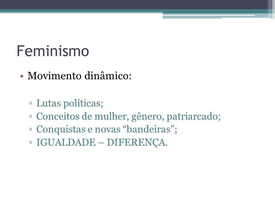 Feminismo Movimento dinâmico: Lutas políticas; Conceitos de mulher, gênero, patriarcado; Conquistas e novas bandeiras; IGUALDADE – DIFERENÇA.