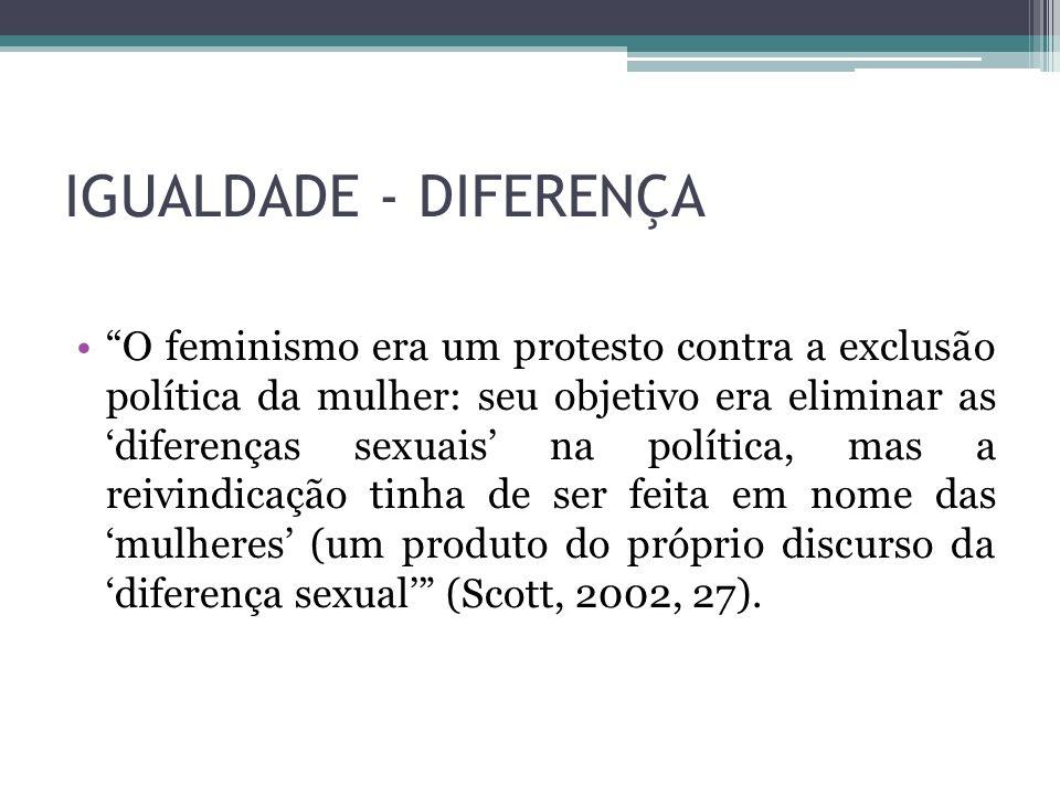 IGUALDADE - DIFERENÇA O feminismo era um protesto contra a exclusão política da mulher: seu objetivo era eliminar as diferenças sexuais na política, m