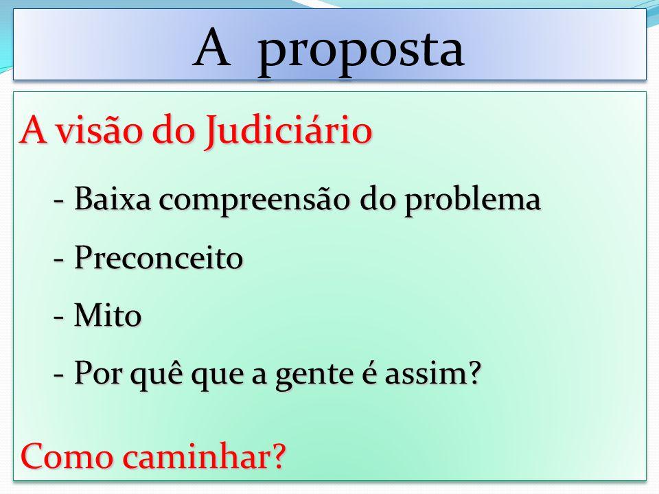 A proposta A visão do Judiciário - Baixa compreensão do problema - Preconceito - Mito - Por quê que a gente é assim.