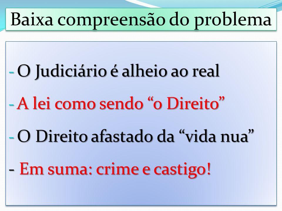 Baixa compreensão do problema - O Judiciário é alheio ao real - A lei como sendo o Direito - O Direito afastado da vida nua - Em suma: crime e castigo.