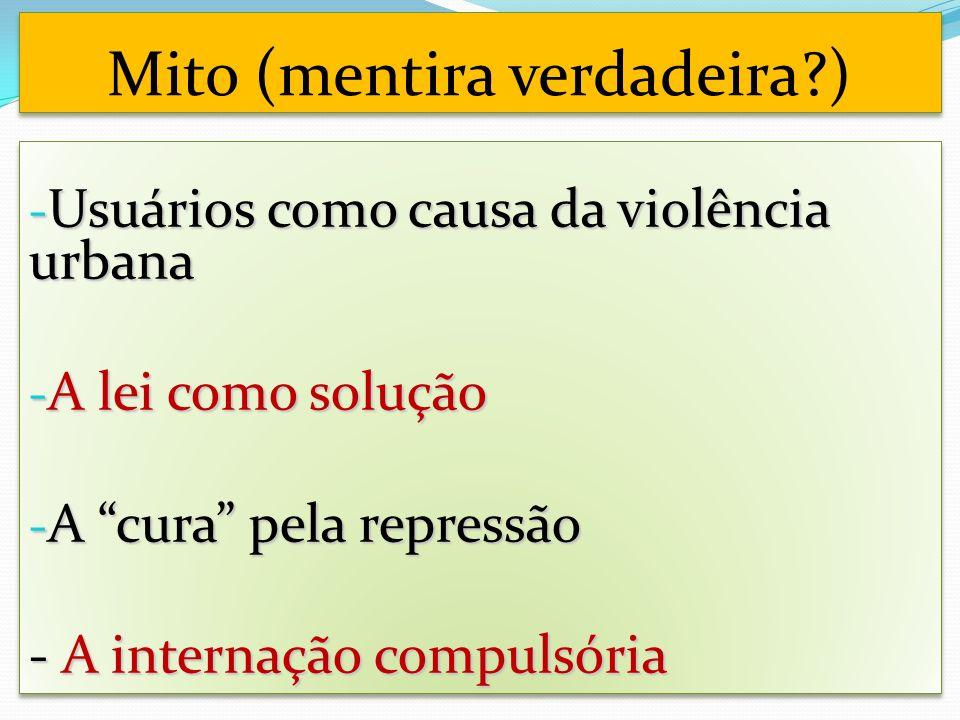 Mito (mentira verdadeira ) - Usuários como causa da violência urbana - A lei como solução - A cura pela repressão - A internação compulsória - Usuários como causa da violência urbana - A lei como solução - A cura pela repressão - A internação compulsória